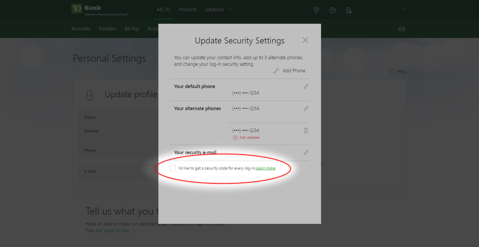 A Note Regarding TD Bank Security Codes • Prism: Help & Support